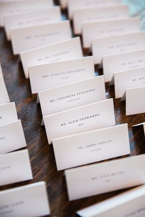 Simple Black-and-White Tented Place Cards