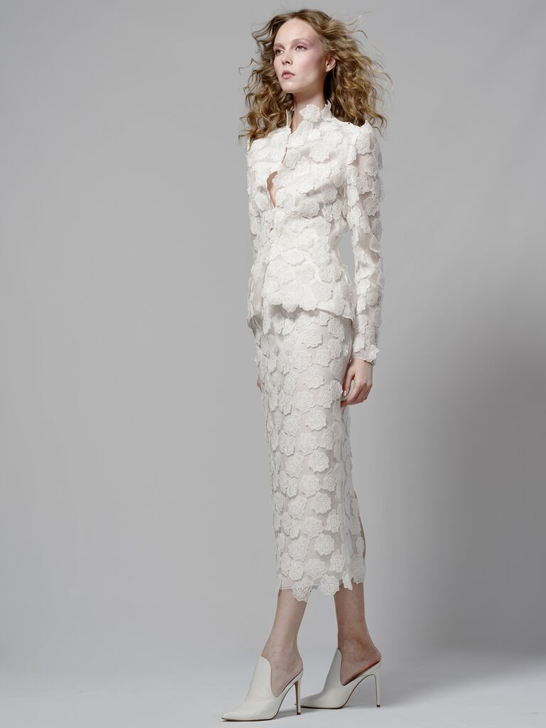 Elizabeth Fillmore Spring 2019 bridal look with matching floral appliqué-covered jacket and skirt