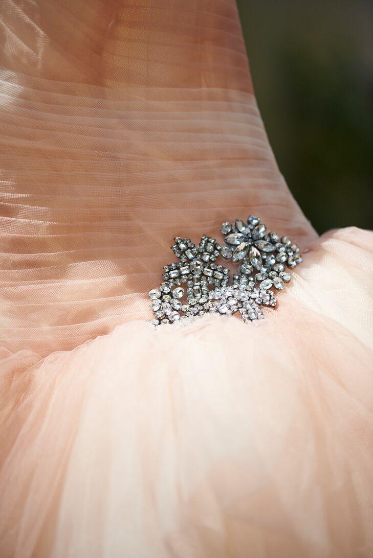 Blush Vera Wang Wedding Dress with Brooch