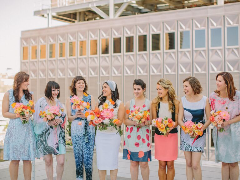 Color blocked navy, powder blue and coral pink bridesmaid dresses and jumpsuits