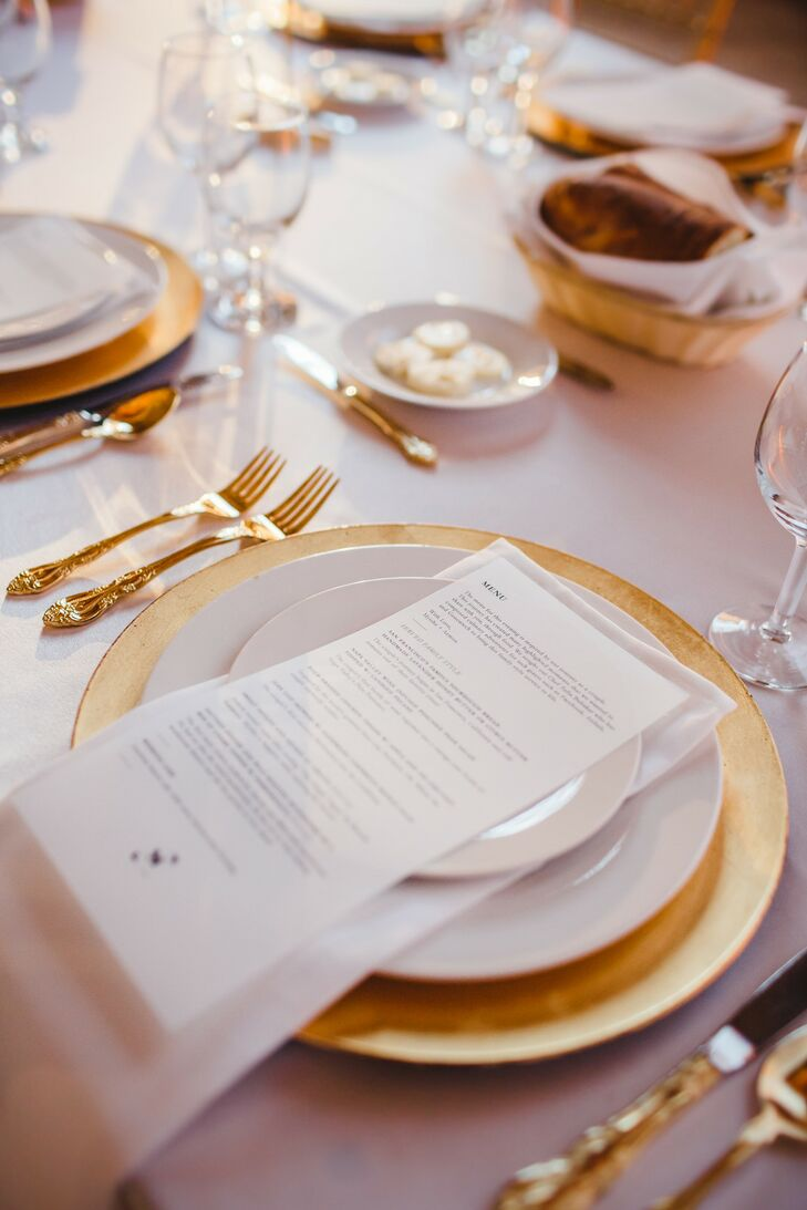 Formal Gold and White Place Setting