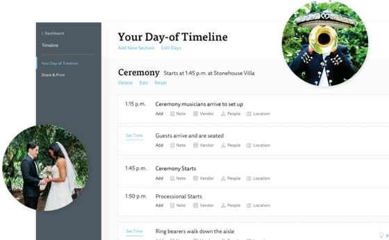 Wedding Day Timeline On The Knot Website