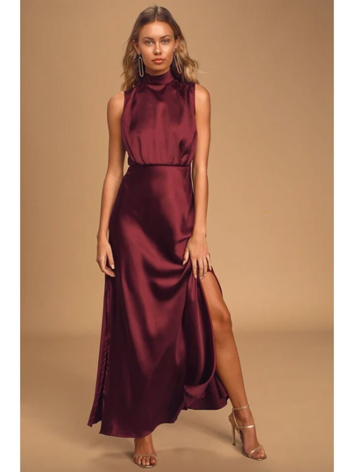 Satin wine-colored maxi dress with high neckline