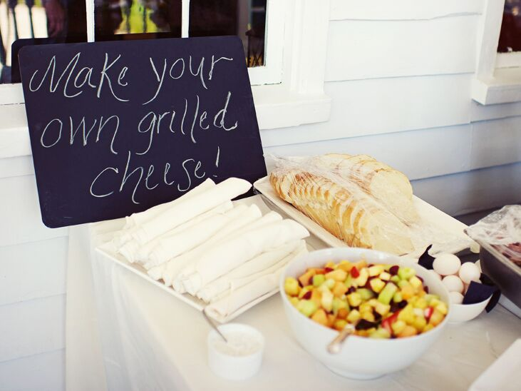 Grilled cheese food station at wedding reception