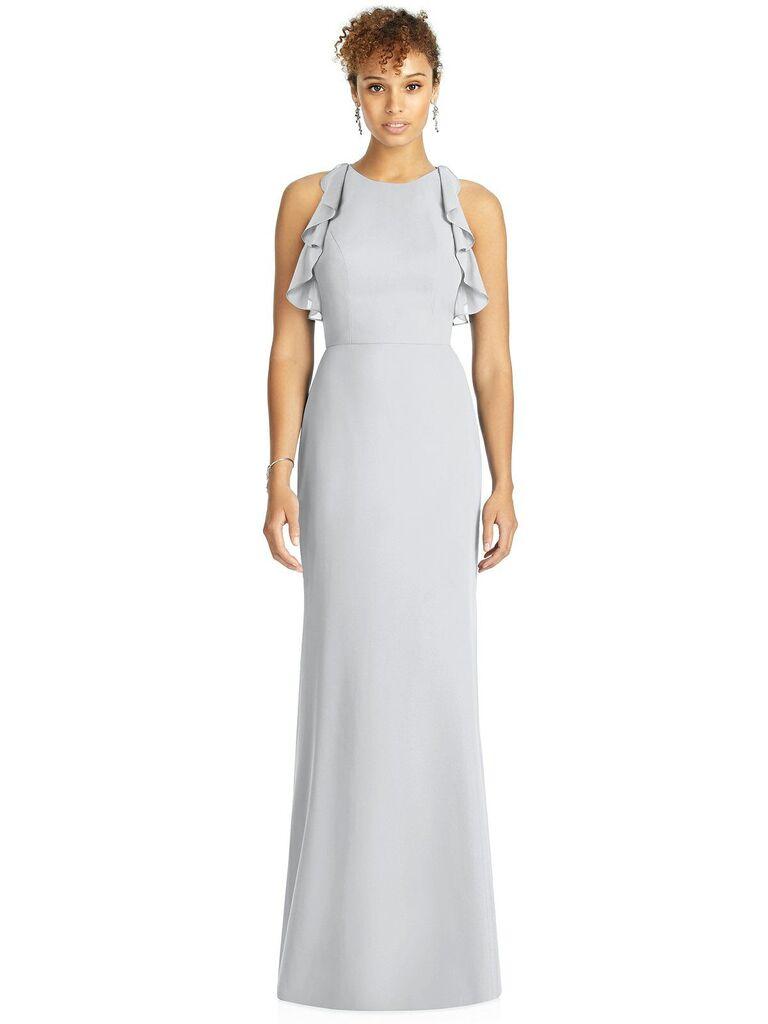 Light gray bridesmaid dress with ruffles