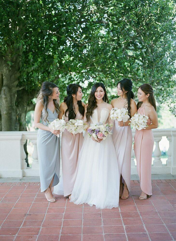 Bridesmaids in Pastel Dresses at Montalvo Arts Center in Saratoga, California