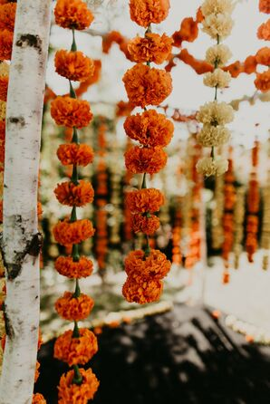 Marigold Garland for Indian Wedding at Overbrook House in Buzzards Bay, Massachusetts