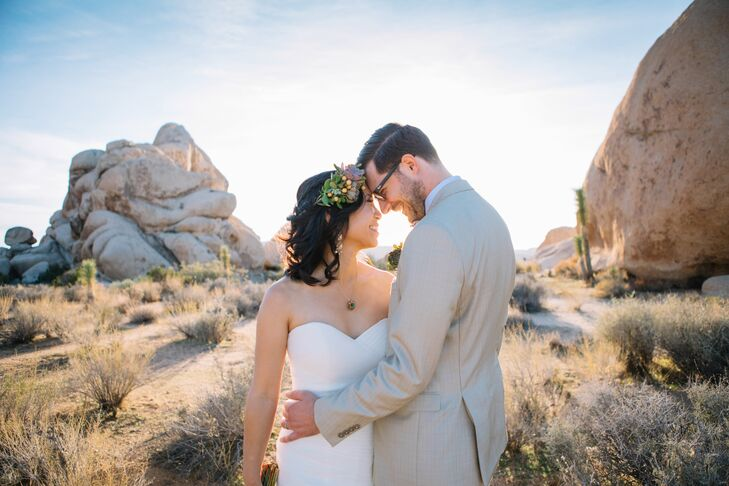 As lovers of the outdoors, Kristine de Leon and Mike	Allen wed at their favorite natural destination in Southern California: Joshua Tree National Park