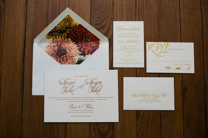 Fall Wedding Invitation with Flower Envelope Liner