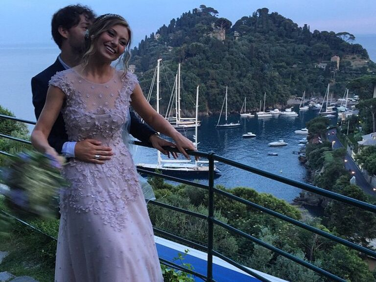 Aly Michalkas Romantic Lavender Wedding Dress Was Perfection