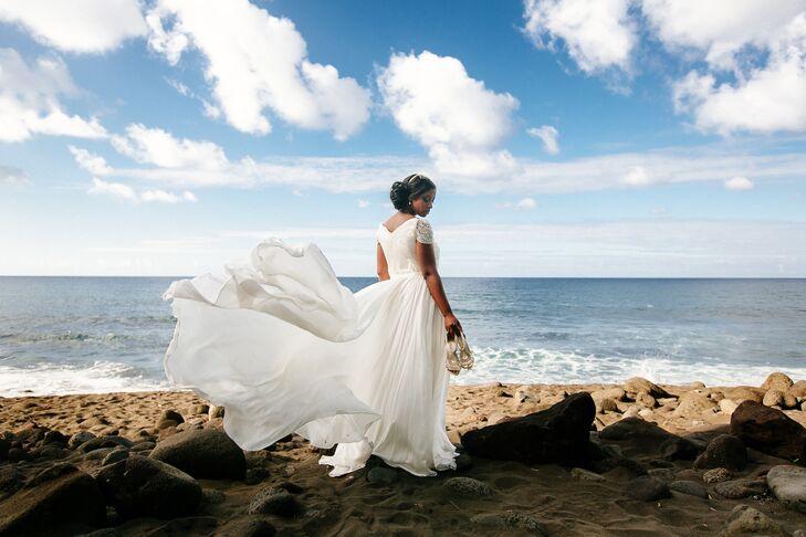 White Reem Acra Wedding Dress with Sleeves