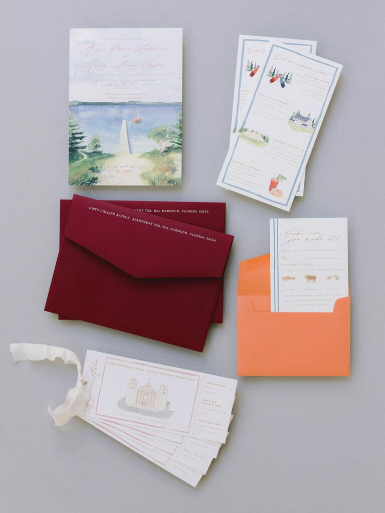 Warm neutral wedding invitation suite