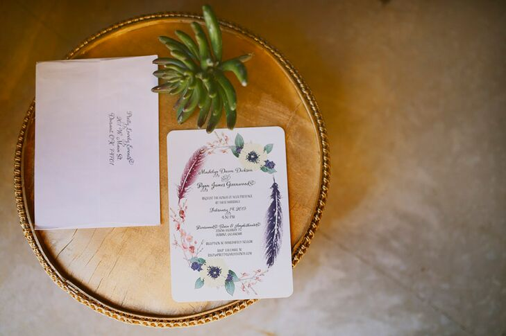 Madelyn and Ryan's invitations perfectly captured their vision, giving guests a taste of the festivities to come. The quaint card stock invites featured hand-drawn floral and feather details that were carried throughout the decor, creating a sense of cohesion from start to finish.
