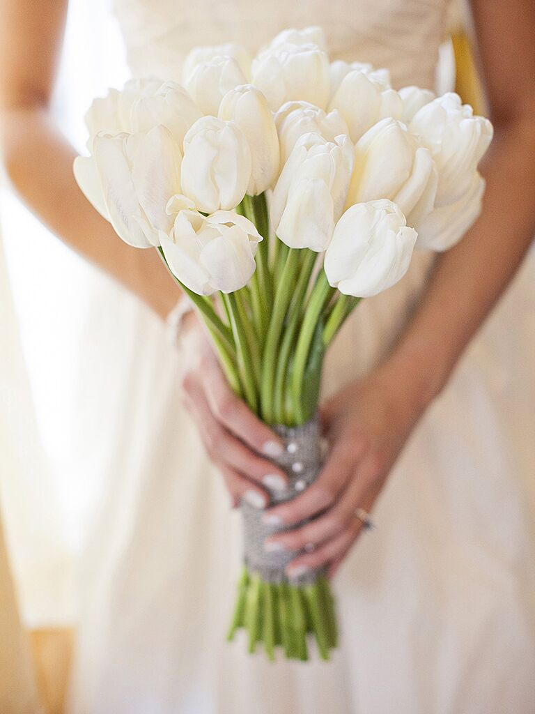 All White Tulip Wedding Bouquet Ideas
