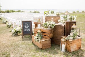 Vintage Wood Crate and Gold Lantern Ceremony Décor