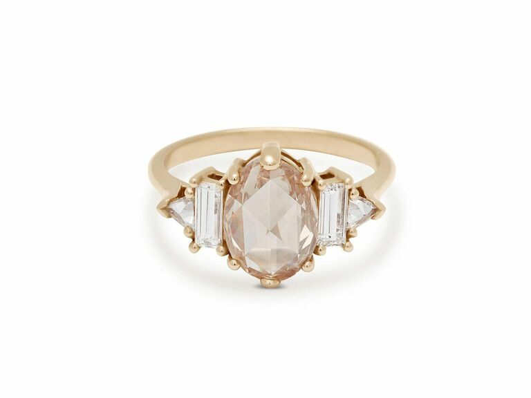 rose cut oval champagne diamond in 14K recycled yellow gold