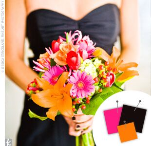 Wedding Color Combo: Hot Pink + Orange + Black