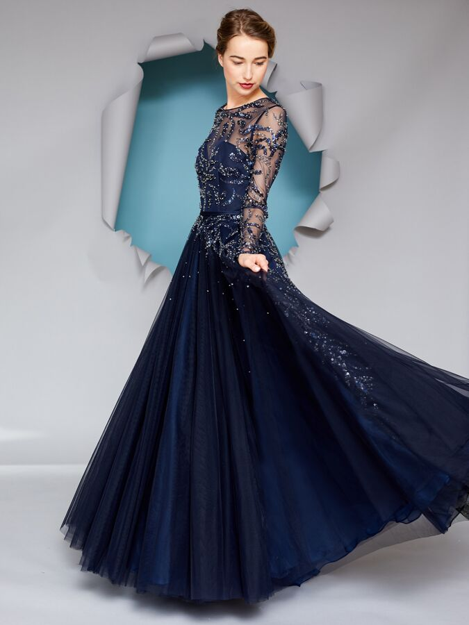 Gracy Accad navy long sleeve dress