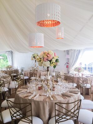 Round Tables and White Tent Draping