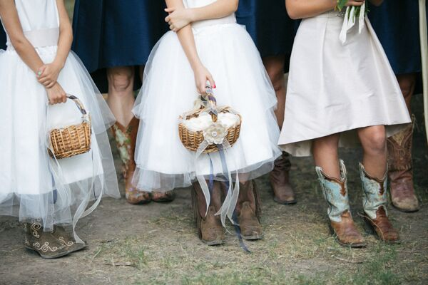 Flower Girls with Baskets and Cowboy Boots