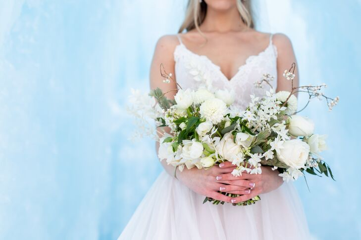 White Bouquet with Dahlias, Roses, Branches and Greenery