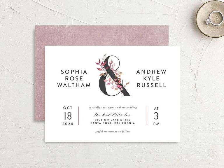 Understated rustic floral invitation