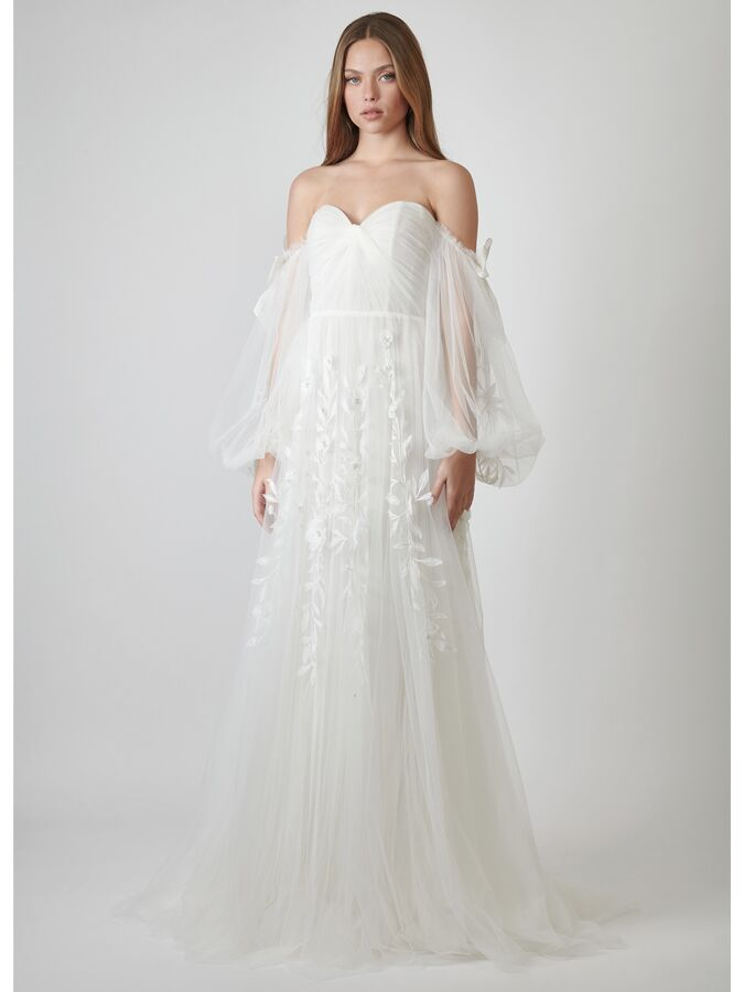 Lihi Hod Couture off-the-shoulder tulle wedding dress with balloon sleeves
