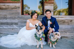 Boho Bride and Groom with Dogs with Floral Collars