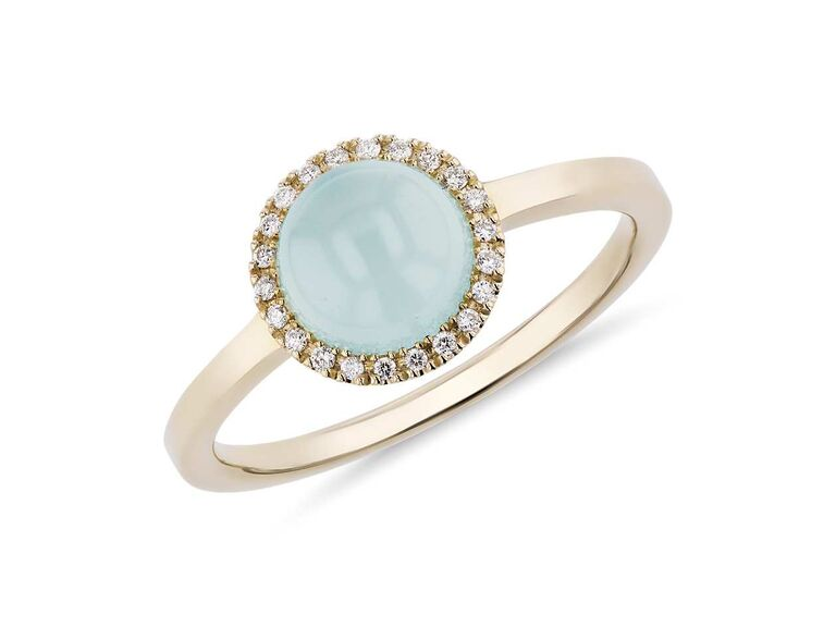 Blue Nile petite round green chalcedony cabochon ring in 14K yellow gold