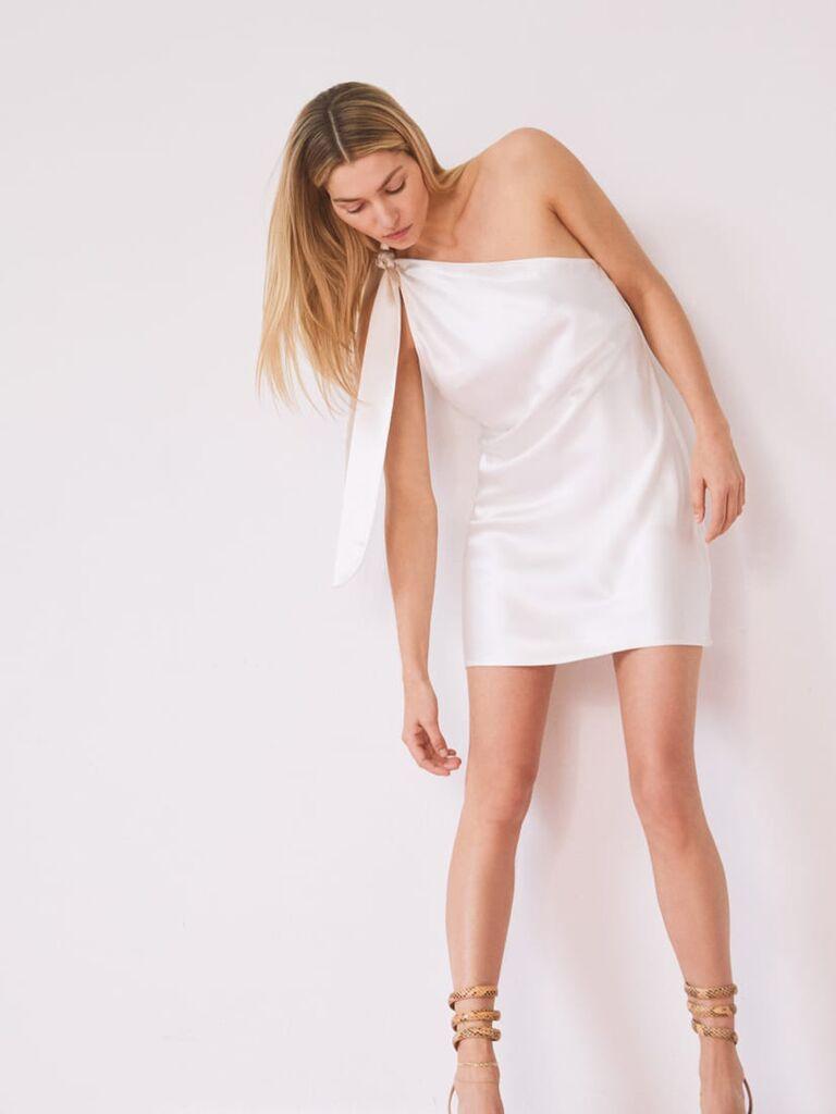 White satin mini dress with one shoulder