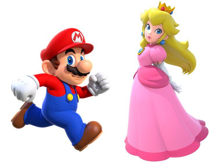 Mario and Princess Peach famous cartoon couples