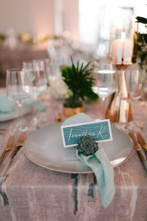 Wood Table with Rustic Place Setting, Succulent and Blue Place Card