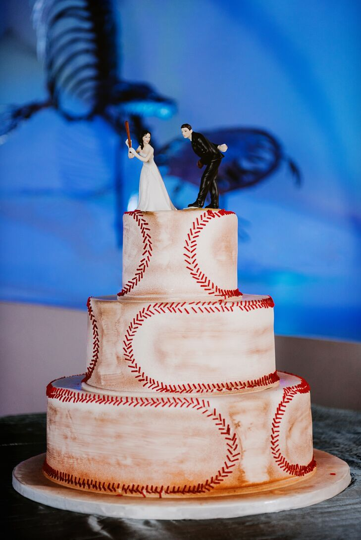 Baseball-Themed Wedding Cake and Topper