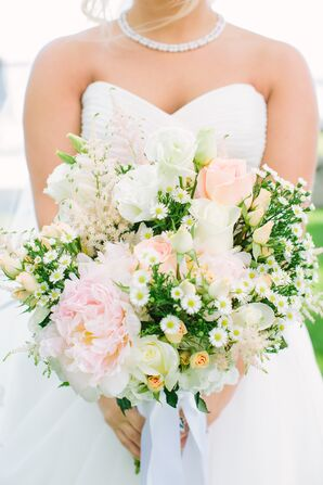 Blush and White Roses and Peonies Bouquet