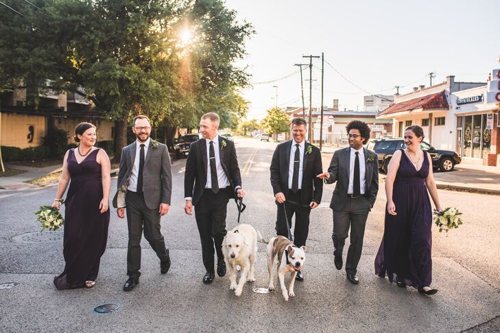 Mixed Gender Wedding Party with Couple's Dogs
