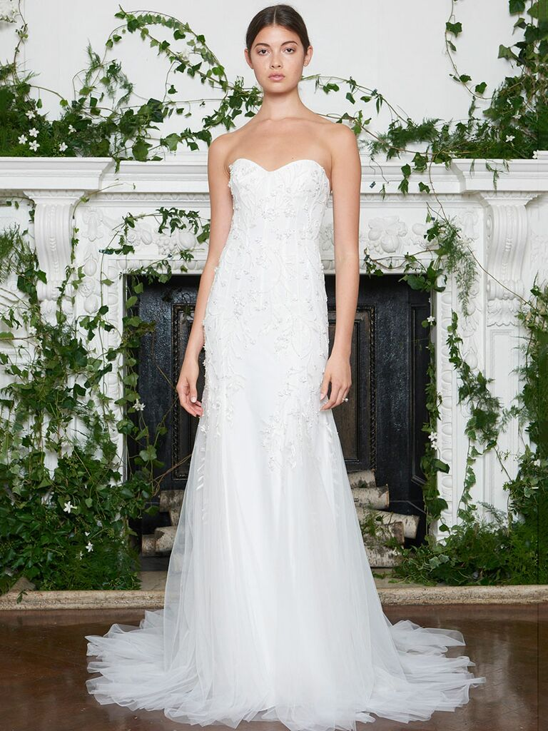Monique Lhuillier Fall 2018 beaded strapless fit and flare wedding dress with sweetheart neckline