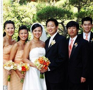 Caroline used an Asian-style orange floral fabric to sew the strapless, tea-length bridesmaid dresses. She added dark orange sashes that featured the same floral design as the dresses.