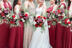 Modern and Tropical Bridesmaids Bouquets