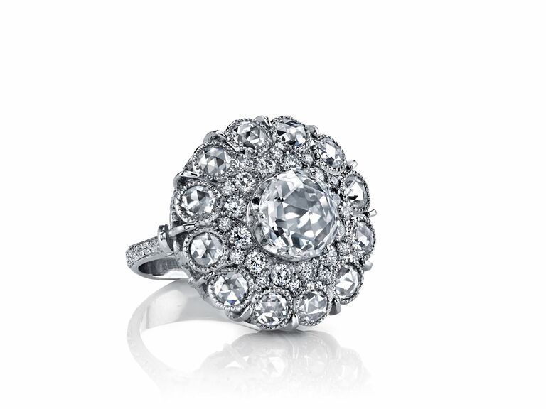 cocktail ring with rose cut diamonds in platinum