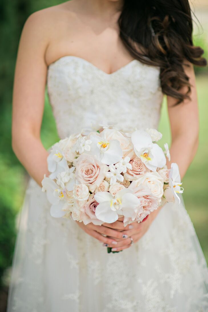 Blush Rose, White Orchid and Stephanotis Bouquet