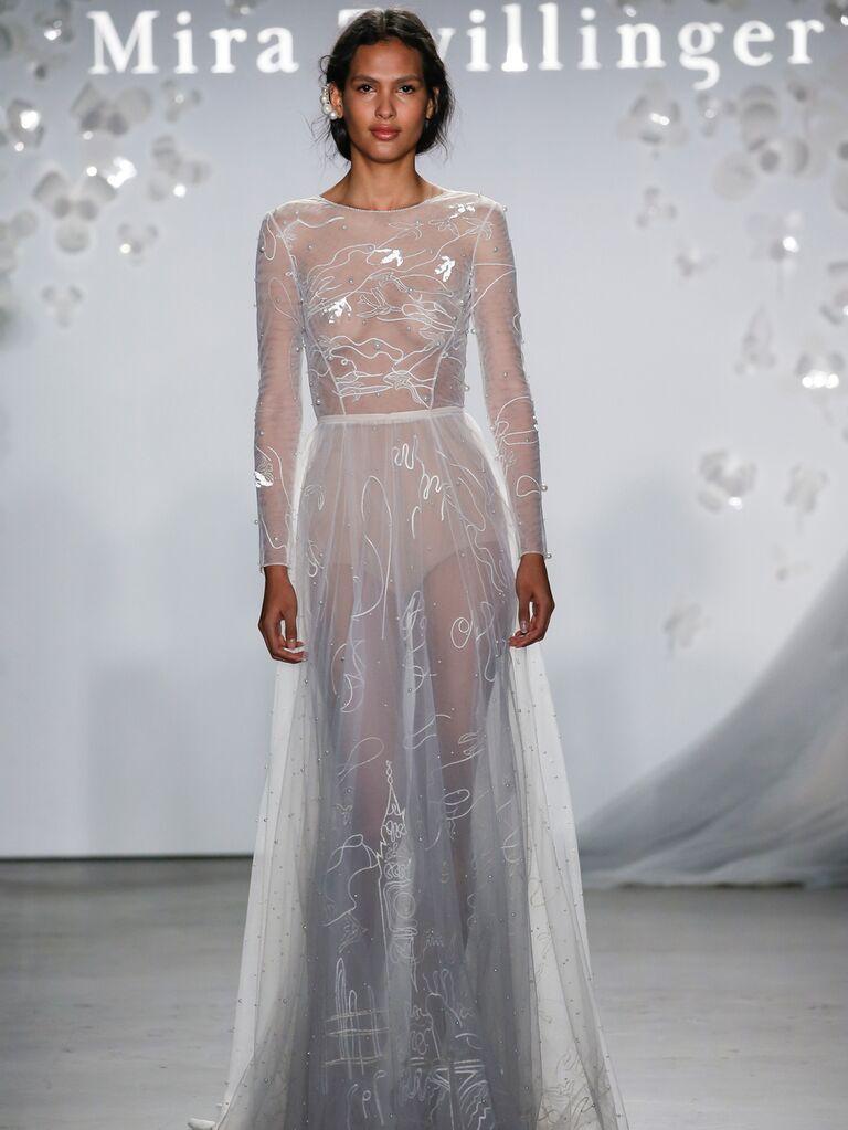 Mira Zwillinger Spring 2020 Bridal Collection sheer long-sleeve wedding dress