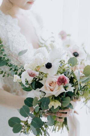 Romantic Textured Eucalyptus and Rose Bouquet