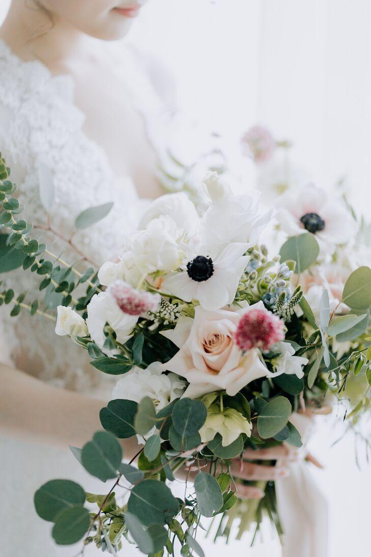 Romantic Textured Eucalyptus and Rose Bouquet