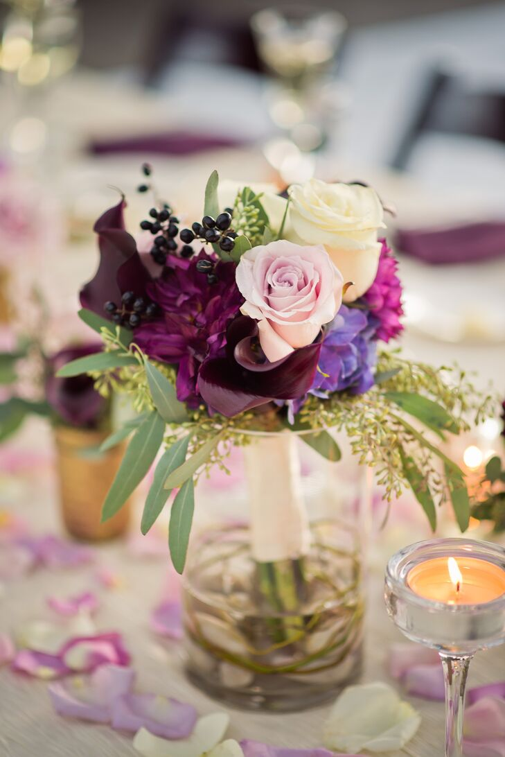 Purple Centerpiece with Roses and Mums