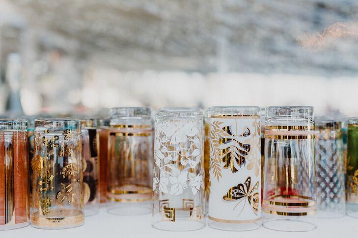 Mismatched Gilded Cocktail Glasses