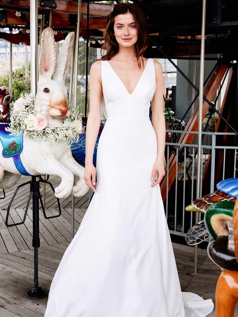 Lela Rose Spring 2020 Bridal Collection V-neck fit-and-flare wedding dress