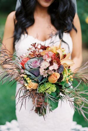 Rustic Bouquet of Colorful Autumn Wildflowers