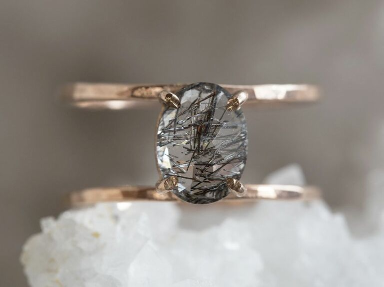 tourmalinated quartz engagement ring in caged band