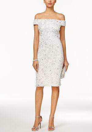Adrianna Papell Wedding Dresses Adrianna Papell Off-The-Shoulder Beaded Sheath Dress Sheath Wedding Dress