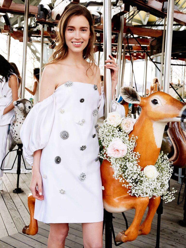 Lela Rose Spring 2020 Bridal Collection off-the-shoulder embellished mini wedding dress